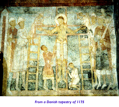 Danish Tapestry showing Spear of Longinus